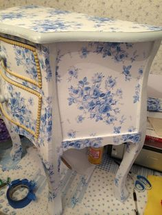 """Progress update:  decoupage bombe chest by Lilyoake, in """"Lake Emily Summer Roses"""" pattern, available through Lilyoake's shop on Spoonflower, in fabrics, wrapping paper, wallpaper and decals!"""