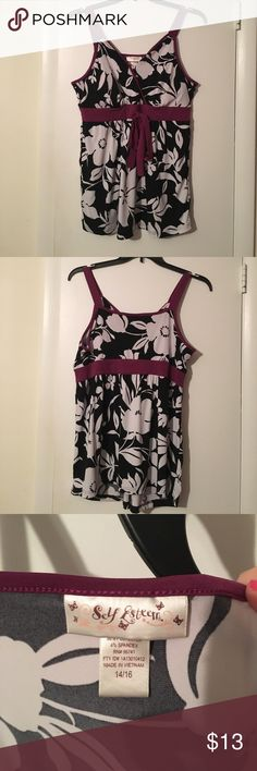 Dressy tank top Black and white floral pattern with purple trim. Self Esteem Tops Tank Tops
