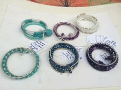 5X Memory Wire Wraps with Specialty Seed Beads Gemstones Crystals and Glass Beads.