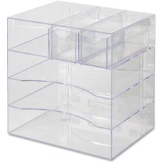 Rubbermaid Optimizers Four-Way Organizer with Drawers, Plastic, 10 x 13 x 13 Clear File Organiser, Desktop Organization, Paper Organization, Makeup Organization, Makeup Organizing Hacks, Discount Office Supplies, Paper Tray, Office Stationery, Walk In Closet