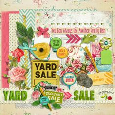 A free mini kit with a yard sale theme designed to coordinate with the YARD SALE collection from Raspberry Road.