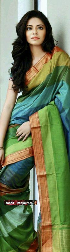 We love this rainbow inspired sari! India Fashion, Ethnic Fashion, Asian Fashion, Women's Fashion, Indian Look, Indian Ethnic Wear, Indian Style, Traditional Fashion, Traditional Dresses