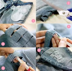 Destroyed Jeans selber machen – Faden mit Pinzette herausziehen Do Destroyed Jeans yourself – pull out the thread with tweezers Löchrige Jeans, Diy Ripped Jeans, Holey Jeans, Diy Jeans, Torn Jeans, Diy Clothes Refashion, Diy Clothing, Jogging Rockers, How To Rip Your Jeans