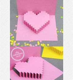 DIY pixelated (Minecraft!) heart pop up card for Valentines day!
