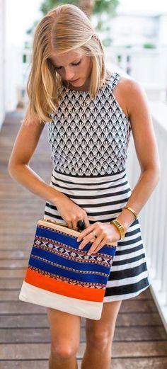 #summer #fashion / stripes + pattern print