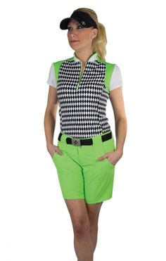 JoFit Ladies & Plus Size Golf Outfits (Shirt & Short) - Melon Ball (Harlequin & Grass) | via @lorisgolfshoppe