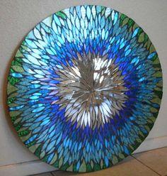 Large Blue Handmade Mosaic Mirror