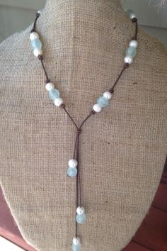 Sea Glass, Pearls and Leather Necklace! Such a refreshing piece. The beauty of this gorgeous aqua sea glass combined with HUGE (12-13mm) baroque freshwater pearls is perfectly reminiscent of the beach                                                                                                                                                                                 More