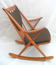rare frank reenskaug bramin teak wood rocking chair danish mid century modern ebay - Wood Rocking Chair