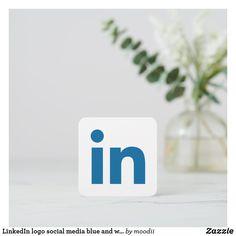 LinkedIn logo social media blue and white promo Calling Card