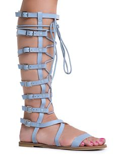 Athena-902A Lace Up Colorful Printed Knee High Flat Gladiator Sandals * Check this awesome image  : Lace up sandals