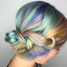 We've gathered our favorite ideas for Rainbow Hair Colors For Holidays 2016 Hairstyles Explore our list of popular images of Rainbow Hair Colors For Holidays 2016 Hairstyles 2017 in rainbow pastel hair colors. Pastel Rainbow Hair, Pastel Hair, Purple Hair, Hair Color Trend, Cool Hair Color, Hair Colors, Summer Hairstyles, Pretty Hairstyles, Lisa Frank