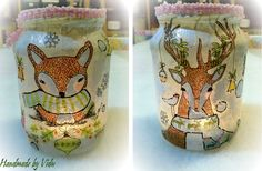 DIY winter candle- you will need: jar, napkin, decoupage glue, brush (to glue), acrylic paint (to outlines)