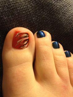 Denver Broncos nails Cute Nail Designs, Acrylic Nail Designs, Manicure Ideas, Nail Ideas, Hot Nails, Hair And Nails, Denver Broncos Nails, Football Nail Art, Glitter Gel Nails