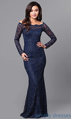 Shop glitter-lace long formal dresses at Simply Dresses. Long-sleeve lace evening dresses under $200 with scalloped off-the-shoulder necklines.
