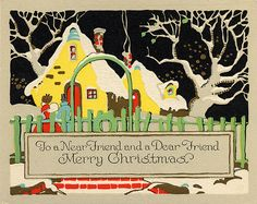 Yellow House! Art Deco Snowy Night Christmas LOVE THIS