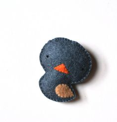 Christmas Sale Bird Felt Brooch Cute Blue Grey Bird by mikaart $9.99