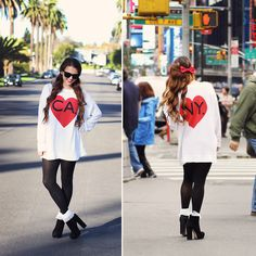 Sunglasses, Wildfox Couture Ca/Ny Sweater, American Apparel Tights, American Apparel Frilly Socks, Dolce Vita Booties