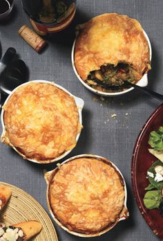Mushroom and Lentil Pies with Gouda Biscuit Top | Bon Appetit       Mushroom and Lentil Pot Pies with Gouda Biscuit Topping Recipe  at Epicurious.com