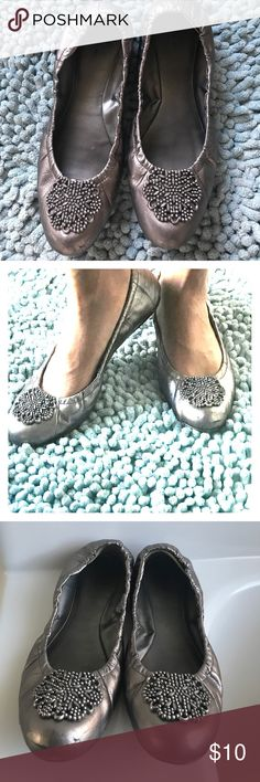GUC Pewter Tahari Valerie Flats Sz 11 Good used condition ballerina flats, elastic around heel. Color is called Titanio. Scuffs on toe and heels. Leather upper. Tahari Shoes Flats & Loafers