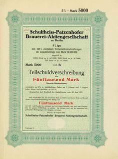 HWPH AG - Historische Wertpapiere - Schultheiss-Patzenhofer Brauerei-AG Berlin, August 1921, Muster einer 5 % Teilschuldverschreibung über 5.000 Mark, Lit. B, o. Nr.