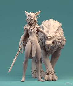 San by Julien Desroy | Fan Art | 3D | CGSociety  Princess Monoke/ Studio Ghibli