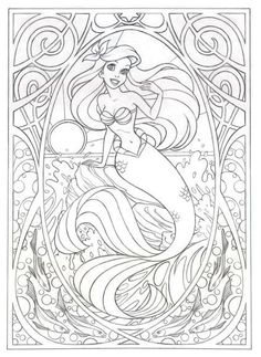 Coloring page for later! Or this >>> Art Nouveau Ariel by Jennifer Gwynne Oliver Illustration Make your world more colorful with free printable coloring pages from italks. Our free coloring pages for adults and kids. Coloring Book Pages, Printable Coloring Pages, Free Disney Coloring Pages, Mermaid Coloring Pages, Disney Coloring Sheets, Disney Princess Coloring Pages, Coloring Worksheets, Mandala Coloring, Mandala Disney