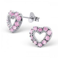 Pink Crystal Open Heart Sterling Silver Stud Earrings
