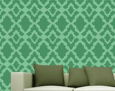 Moroccan Wall Stencil Pattern Wall Paper Effect And Paint, Reusable DIY  Wall Décor