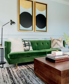 - January Catalog 2020 - Avec Emerald Green Sofa with Brass Legs Living Room Green, Green Rooms, New Living Room, Living Room Sofa, Living Room Decor, Emerald Green Couch, Emerald Green Decor, Green Velvet Sofa, Green Couches
