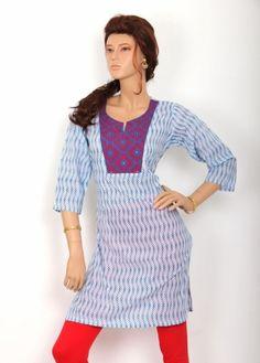 White and Blue Colored Printed Cotton Kurti. http://www.shreedevitextile.com/women/kurti/shreedevi-kurti/shree-devi/white-and-blue-colored-cotton-kurti-2