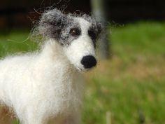 Needle felted Silken Windhound Dog Sculpture by BenMcfuzzylugs