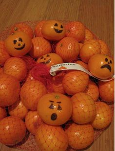 Mandarin oranges w jack o lantern faces.  Great for school snacks/school party.