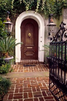 Wood Door with Entry Gate, Charleston, SC© Doug Hickok  All Rights Reserved