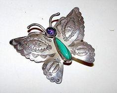 Native American Navajo Sara Platero Sterling Silver Amethyst Malachite Butterfly Brooch Pin Pendant
