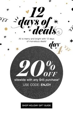 12 Days of Deals - Day 4 - 20% OFF SITEWIDE with any $45 purchase - USE CODE: ENJOY - Expires Midnight Et December 3 2016 www.youravon.com/wvolz #12daysofdeals #day4 #avon #20percentoff