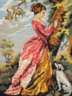 Vintage French needlepoint tapestry canvas embroidery - The Souvenir, after…