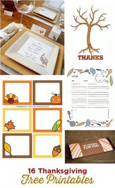 16 Thanksgiving DIY Free Party Printable Designs.