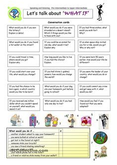 Let´s talk about ´WHAT IF´ - English ESL Worksheets for distance learning and physical classrooms English Tips, English Class, English Lessons, Learn English, French Lessons, Learn French, English Vocabulary, English Grammar, Teaching English