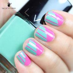 Diagonal Stripes Nail Art