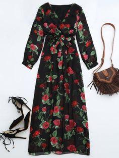 Belted Floral Surplice Maxi Dress - Floral