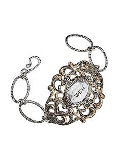 """Gold and Silver Wish Filigree Bracelet, Letter Engraved •Bold, 2-tone Filagree Plate with """"Wish"""" Inspiration on Large, Hammered Artisan Chain Links Bracelet with Hook & Loop Closure.materials Metal Length 7.5 Inch Unknown http://www.amazon.com/dp/B00L3F7J50/ref=cm_sw_r_pi_dp_uzMLvb0TTKBSB"""