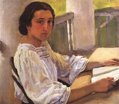 Portrait of E. Solntseva, sister of artist (1914). Zinaida Serebriakova (Russian, 1884-1967).  Serebryakova joined the 'World of Art' Society, but stood out from the other members of the group because of her preference for popular themes and because...
