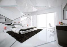 Futuristic Bedroom New Design Bedroom Interior Design Bedroom Interiors White Bedroom Design, White Bedroom Decor, Luxury Bedroom Design, Modern Master Bedroom, White Interior Design, Contemporary Bedroom, Bedroom Designs, Bedroom Ideas, Modern Bedrooms