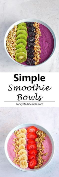 Three simple smoothie bowl recipes for you to try. Strawberry Banana, Blackberry kiwi and Orange Mango smoothie bowls.