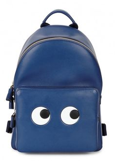 Blue eye-print leather backpack