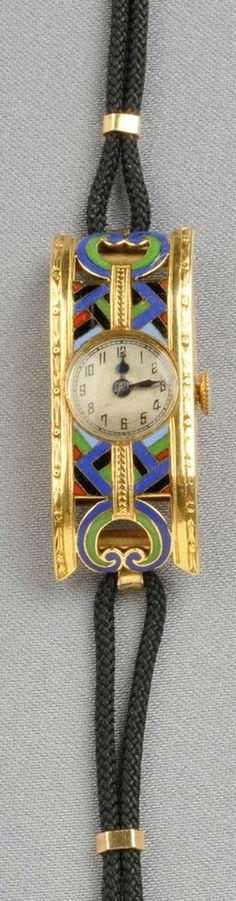 Wristwatch; Lady's, Emshir Watch Co, Art Deco, 18K Yellow Gold & Enamel, 15 Jewel, Cord Bracelet.