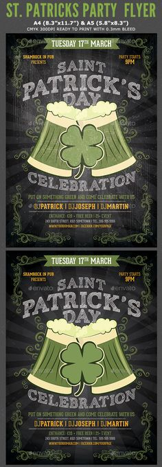 St. Patricks Day Flyer Template St Patrick's Day Menu, Club Flyers, Event Flyers, Free Flyer Templates, Print Templates, Advertising Flyers, Menu Design, Label Design, Food Menu Template