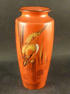STUNNING-SHELLEY-ART-DECO-POTTERY-HAND-PAINTED-KINGFISHER-PATTERN-VASE-C1930s