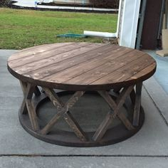 "Custom built 42"" round x brace farmhouse coffee table"